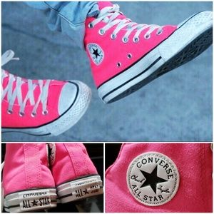🕶💟Florescent Pink Converse All Star High Tops